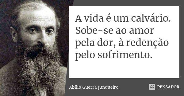 A vida é um calvário. Sobe-se ao amor pela dor, à redenção pelo sofrimento.... Frase de Abílio Guerra Junqueiro.