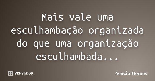 Mais vale uma esculhambação organizada do que uma organização esculhambada...... Frase de Acacio Gomes.