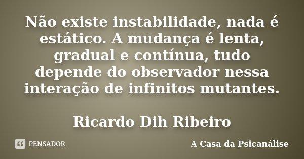 Não existe instabilidade, nada é estático. A mudança é lenta, gradual e contínua, tudo depende do observador nessa interação de infinitos mutantes. Ricardo Dih ... Frase de A Casa da Psicanálise.