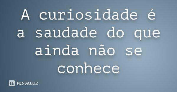 A curiosidade é a saudade do que ainda não se conhece... Frase de Desconhecido.