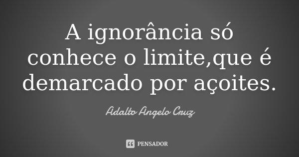 A ignorância só conhece o limite,que é demarcado por açoites.... Frase de Adalto Angelo Cruz.