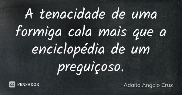 A tenacidade de uma formiga cala mais que a enciclopédia de um preguiçoso.... Frase de Adalto Angelo Cruz.