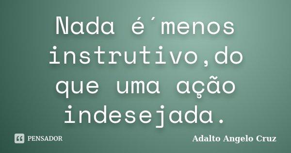 Nada é´menos instrutivo,do que uma ação indesejada.... Frase de Adalto Angelo Cruz.