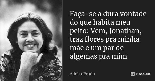 Faça-se a dura vontade do que habita meu peito: Vem, Jonathan, traz flores pra minha mãe e um par de algemas pra mim.... Frase de Adélia Prado.