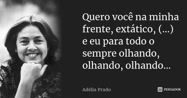 Quero você na minha frente, extático, (...) e eu para todo o sempre olhando, olhando, olhando...... Frase de Adélia Prado.