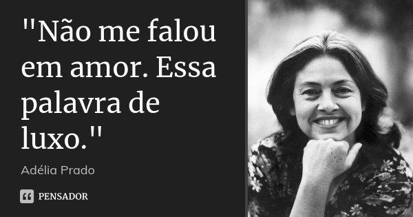 """""""Não me falou em amor. Essa palavra de luxo.""""... Frase de Adélia Prado."""