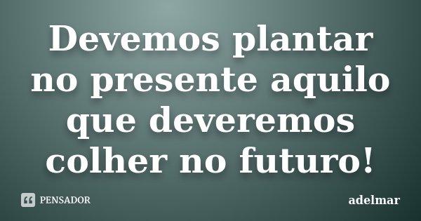 Devemos plantar no presente aquilo que deveremos colher no futuro!... Frase de adelmar.