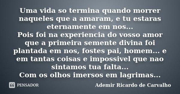 Uma vida so termina quando morrer naqueles que a amaram, e tu estaras eternamente em nos... Pois foi na experiencia do vosso amor que a primeira semente divina ... Frase de Ademir Ricardo de Carvalho.