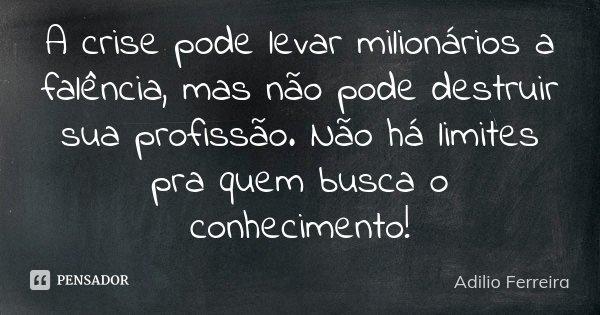 A crise pode levar milionários a falência, mas não pode destruir sua profissão. Não há limites pra quem busca o conhecimento!... Frase de Adilio Ferreira.