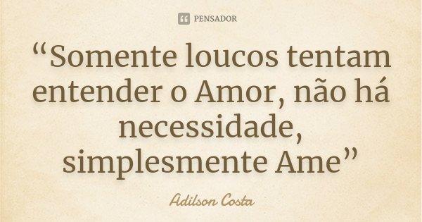 """""""Somente loucos tentam entender o Amor, não há necessidade, simplesmente Ame""""... Frase de Adilson Costa."""