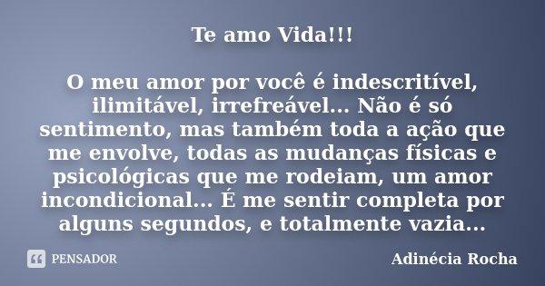 Te amo Vida!!! O meu amor por você é indescritível, ilimitável, irrefreável... Não é só sentimento, mas também toda a ação que me envolve, todas as mudanças fís... Frase de Adinécia Rocha.