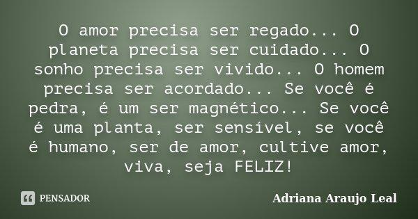 O amor precisa ser regado... O planeta precisa ser cuidado... O sonho precisa ser vivido... O homem precisa ser acordado... Se você é pedra, é um ser magnético.... Frase de Adriana Araujo Leal.