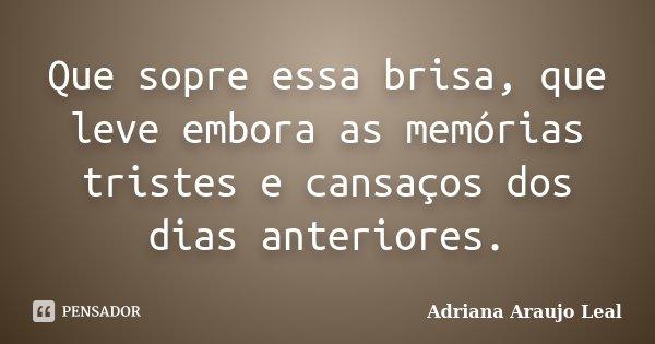 Que sopre essa brisa, que leve embora as memórias tristes e cansaços dos dias anteriores.... Frase de Adriana Araujo Leal.