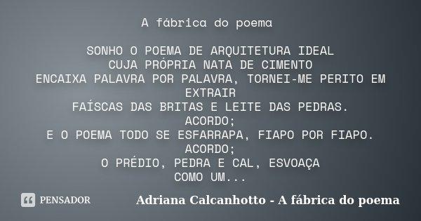 A fábrica do poema SONHO O POEMA DE ARQUITETURA IDEAL CUJA PRÓPRIA NATA DE CIMENTO ENCAIXA PALAVRA POR PALAVRA, TORNEI-ME PERITO EM EXTRAIR FAÍSCAS DAS BRITAS E... Frase de Adriana Calcanhotto - A fábrica do poema.