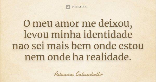 O meu amor me deixou, levou minha identidade nao sei mais bem onde estou nem onde ha realidade.... Frase de Adriana Calcanhotto.