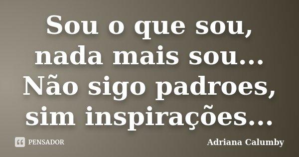 Sou o que sou, nada mais sou... Não sigo padroes, sim inspirações...... Frase de Adriana Calumby.