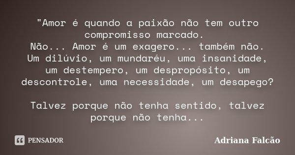 """""""Amor é quando a paixão não tem outro compromisso marcado. Não... Amor é um exagero... também não. Um dilúvio, um mundaréu, uma insanidade, um destempero, ... Frase de Adriana Falcão."""