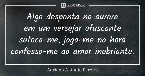 Algo desponta na aurora em um versejar ofuscante sufoca-me, jogo-me na hora confesso-me ao amor inebriante.... Frase de Adriano Antonio Pereira.