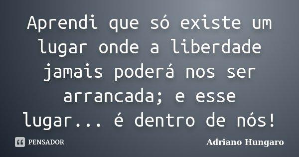 Aprendi que só existe um lugar onde a liberdade jamais poderá nos ser arrancada; e esse lugar... é dentro de nós!... Frase de Adriano Hungaro.