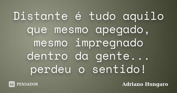 Distante é tudo aquilo que mesmo apegado, mesmo impregnado dentro da gente... perdeu o sentido!... Frase de Adriano Hungaro.
