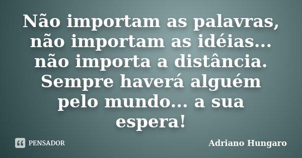 Não importam as palavras, não importam as idéias... não importa a distância. Sempre haverá alguém pelo mundo... a sua espera!... Frase de Adriano Hungaro.