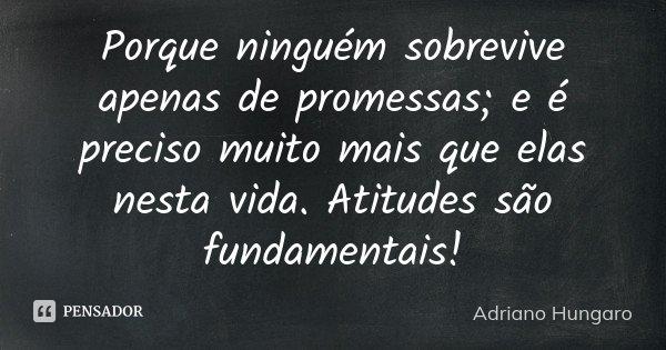 Porque ninguém sobrevive apenas de promessas; e é preciso muito mais que elas nesta vida. Atitudes são fundamentais!... Frase de Adriano Hungaro.