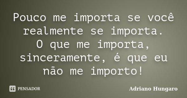Pouco me importa se você realmente se importa. O que me importa, sinceramente, é que eu não me importo!... Frase de Adriano Hungaro.