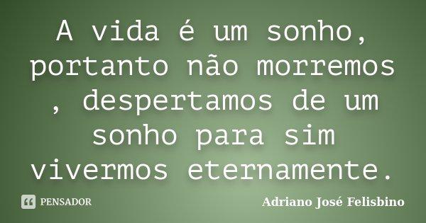 A vida é um sonho, portanto não morremos , despertamos de um sonho para sim vivermos eternamente.... Frase de Adriano José Felisbino.