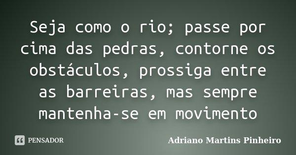 Seja como o rio; passe por cima das pedras, contorne os obstáculos, prossiga entre as barreiras, mas sempre mantenha-se em movimento... Frase de Adriano Martins Pinheiro.