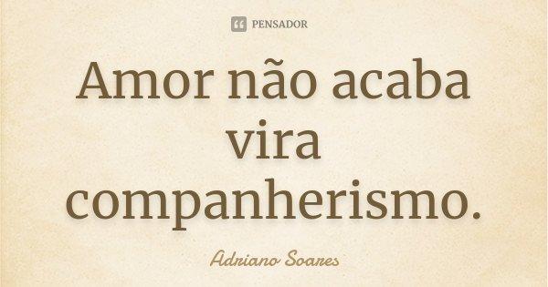 Amor não acaba vira companherismo.... Frase de Adriano Soares.