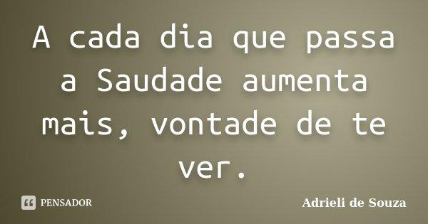 A cada dia que passa a Saudade aumenta mais, vontade de te ver.... Frase de Adrieli de Souza.