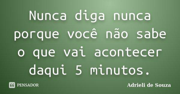 Nunca diga nunca porque você não sabe o que vai acontecer daqui 5 minutos.... Frase de Adrieli de Souza.