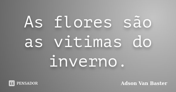 As flores são as vitimas do inverno.... Frase de Adson Van Baster.