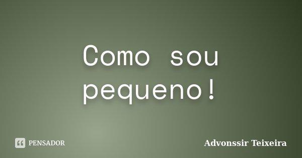 Como sou pequeno!... Frase de Advonssir Teixeira.