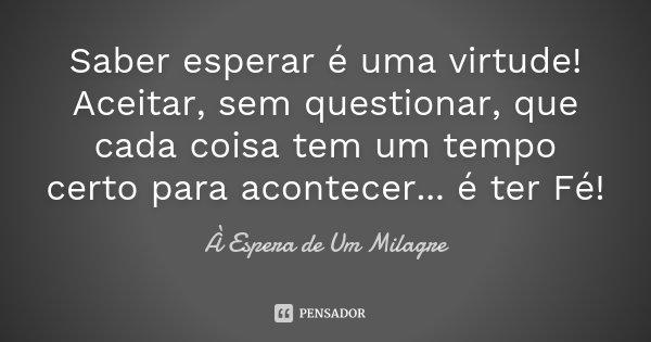 Saber Esperar é Uma Virtude Aceitar Sem Questionar Que: Saber Esperar é Uma Virtude! Aceitar,... À Espera De Um