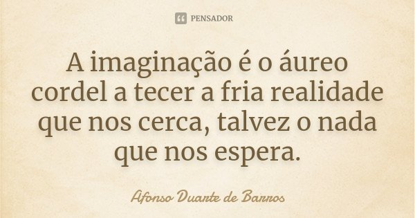 A imaginação é o áureo cordel a tecer a fria realidade que nos cerca, talvez o nada que nos espera.... Frase de Afonso Duarte de Barros.