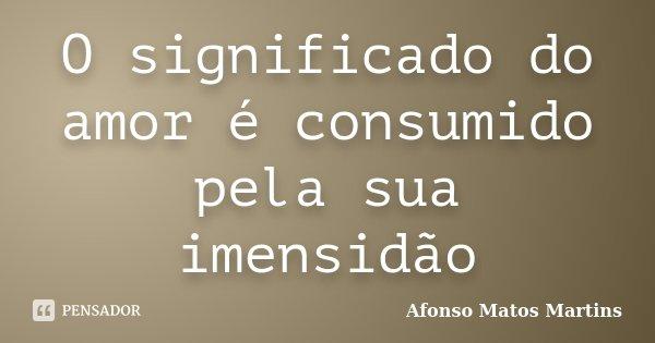 O significado do amor é consumido pela sua imensidão... Frase de Afonso Matos Martins.