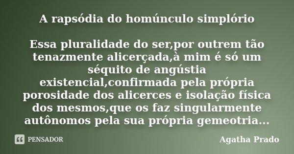 A rapsódia do homúnculo simplório Essa pluralidade do ser,por outrem tão tenazmente alicerçada,à mim é só um séquito de angústia existencial,confirmada pela pró... Frase de Agatha Prado.