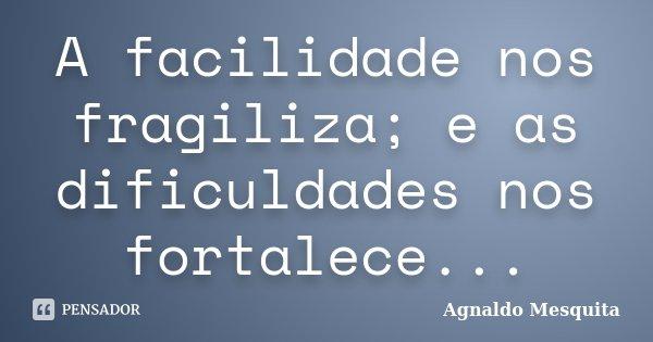 A facilidade nos fragiliza; e as dificuldades nos fortalece...... Frase de Agnaldo Mesquita.