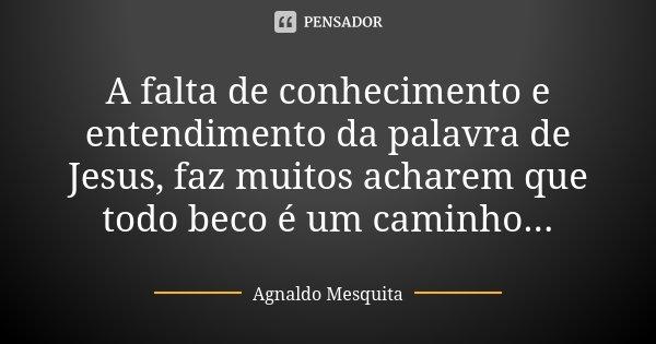 A falta de conhecimento e entendimento da palavra de Jesus, faz muitos acharem que todo beco é um caminho...... Frase de Agnaldo Mesquita.
