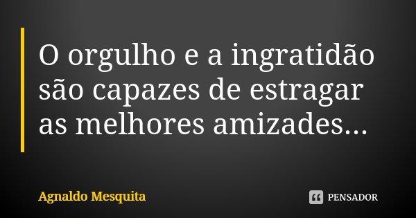 O orgulho e a ingratidão são capazes de estragar as melhores amizades...... Frase de Agnaldo Mesquita.