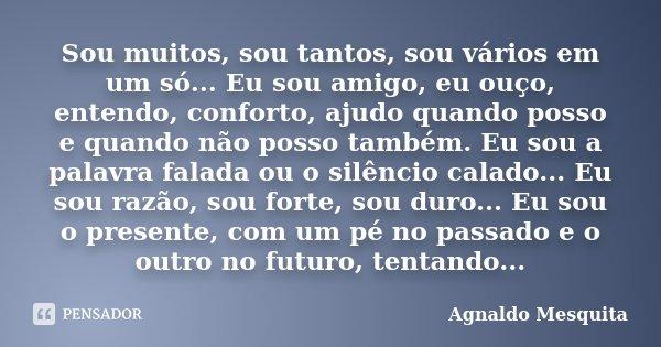 Sou muitos, sou tantos, sou vários em um só... Eu sou amigo, eu ouço, entendo, conforto, ajudo quando posso e quando não posso também. Eu sou a palavra falada o... Frase de Agnaldo Mesquita.