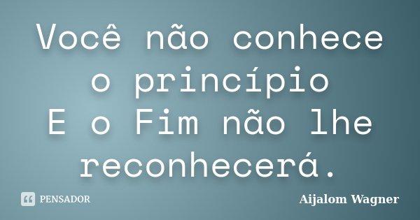 Você não conhece o princípio E o Fim não lhe reconhecerá.... Frase de Aijalom Wagner.