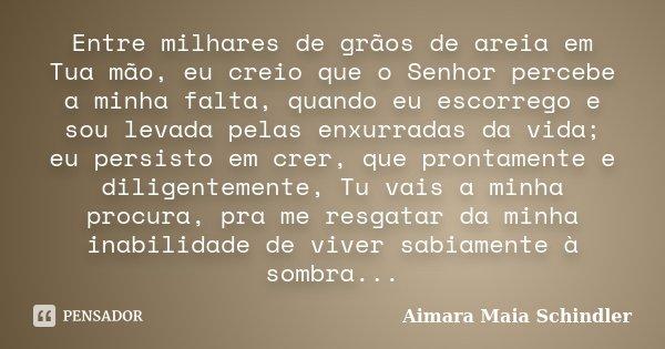 Entre milhares de grãos de areia em Tua mão, eu creio que o Senhor percebe a minha falta, quando eu escorrego e sou levada pelas enxurradas da vida; eu persisto... Frase de Aimara Maia Schindler.
