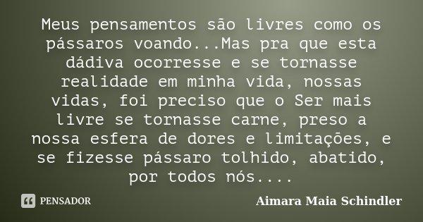 Meus pensamentos são livres como os pássaros voando...Mas pra que esta dádiva ocorresse e se tornasse realidade em minha vida, nossas vidas, foi preciso que o S... Frase de Aimara Maia Schindler.