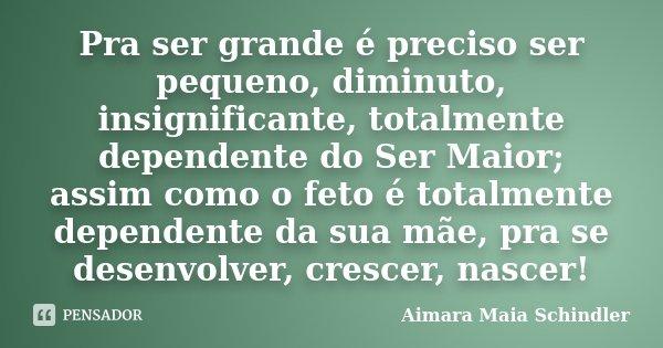 Pra ser grande é preciso ser pequeno, diminuto, insignificante, totalmente dependente do Ser Maior; assim como o feto é totalmente dependente da sua mãe, pra se... Frase de Aimara Maia Schindler.