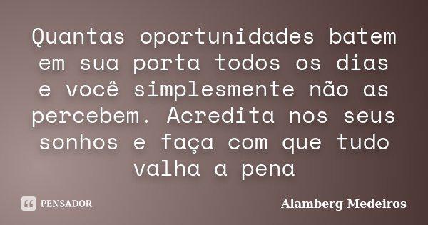 Quantas oportunidades batem em sua porta todos os dias e você simplesmente não as percebem. Acredita nos seus sonhos e faça com que tudo valha a pena... Frase de Alamberg Medeiros.