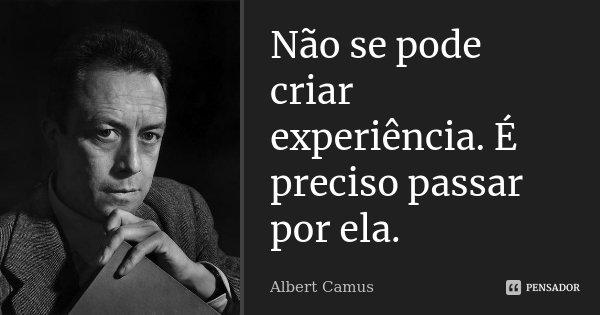 Não se pode criar experiência. É preciso passar por ela.... Frase de Albert Camus.