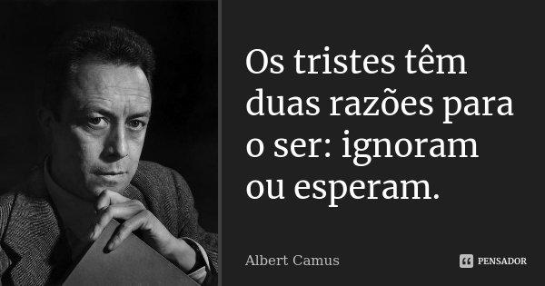 Os tristes têm duas razões para o ser: ignoram ou esperam.... Frase de Albert Camus.