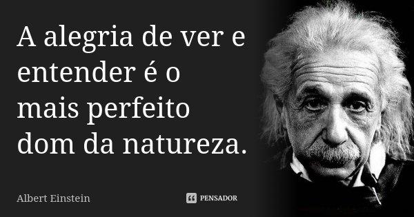 A alegria de ver e entender é o mais perfeito dom da natureza.... Frase de Albert Einstein.